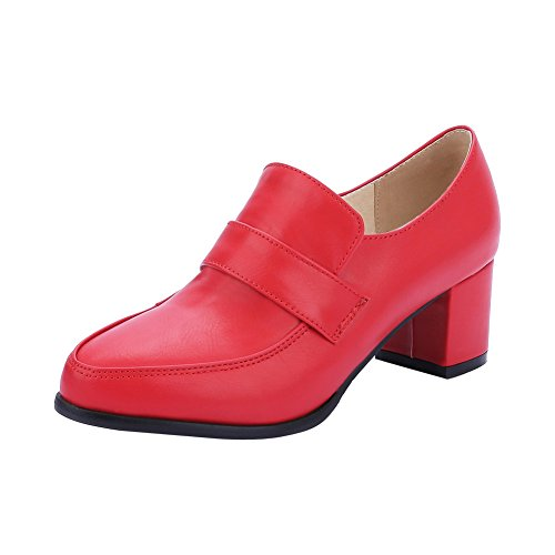 Sjarm Fot Damene Moderne, Stilfulle Chunky Hæl Loafers Sko Rød