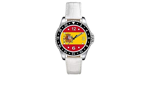 Timest - Bandera de España - Reloj para Mujer con Correa de Cuero Blanco Analógico Cuarzo SE0533LW: Amazon.es: Relojes