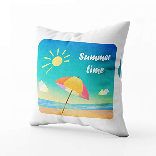 (Capsceoll Bed Pillow Covers, Summer Time Beach Umbrella Sand Near Sea Moment Cartoon Style Sofa Throw Pillows Case Covers,Home Decoration Pillow Cases Zippered Covers Cushion for Sofa Couch)