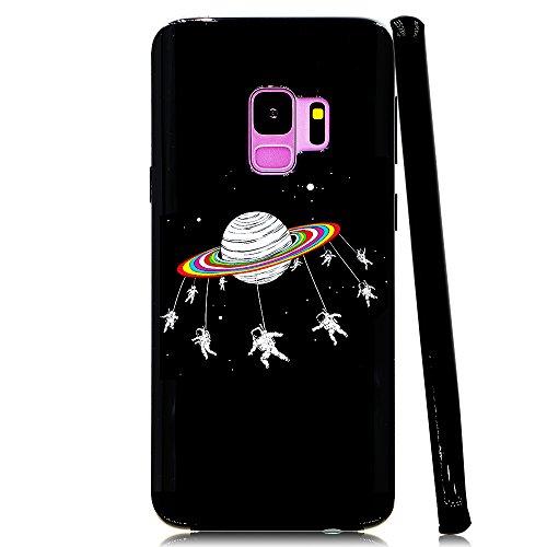 Lartin Astronauts Merry-Go-Round Planet Space Soft Flexible Jellybean Gel TPU Case for Samsung Galaxy S9