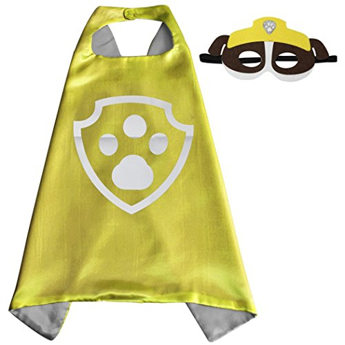 Paw Patrol Halloween Costumes Rubble (Whoopgifts Superhero Costumes Satin Cape with Felt Mask For Kids, 70cm x 70cm (Rubble))