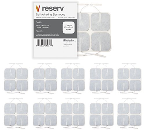 reserv 40 pack of 2'' x 2'' Premium FDA/OTC Approved Re-Usable Self Adhesive Electrode Pads for TENS/EMS Unit, Fabric Backed Pads with Premium Gel (White Cloth and Latex Free) (1 Pack (40 electrodes)) by reserv