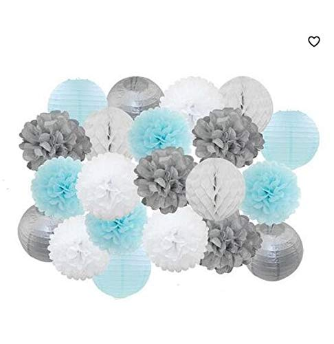 Boy Baby Shower Decoration Set 21pcs/Silver/White /Baby Blue Round Paper Lantern Paper Pom Pom Honeycomb Ball for Wedding Baby Shower Birthday Party -