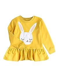 Matoen Toddler Kids Baby Girls Long Sleeve Soild Color Rabbit Sweater Dress