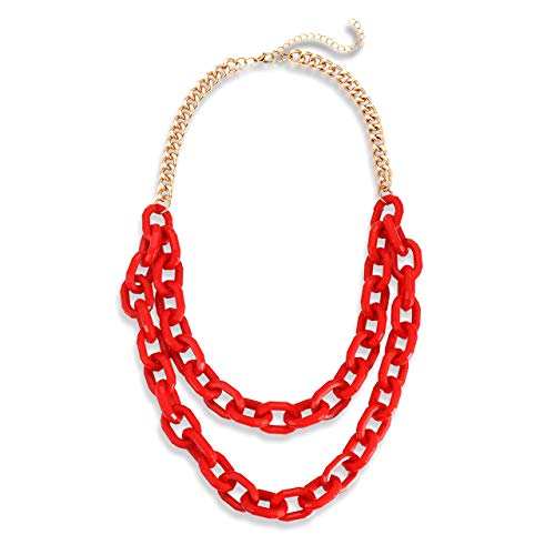 Boderier Chunky Bib Necklace Women Statement Acrylic Chain Link Collar Necklace (Red)