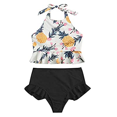 Excursion Clothing Women's High Waisted Bikini Set Tankini Ruffle Bottom Two Piece Sexy Pineapple Print Top Swimwear