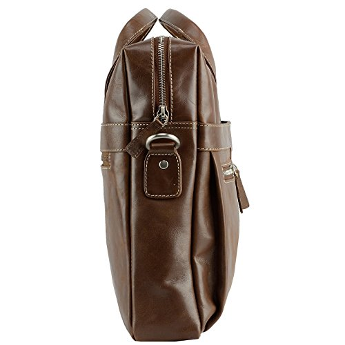 Echt Leder Messenger Bag Aktentasche Schultertasche Umhängetasche DIN-A4 Laptoptasche 15,6 Henkeltasche