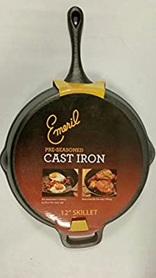 (Ship from USA) Emeril by All-Clad E96407 Pre-Seasoned Cast-Iron Skillet Cookware 12-Inch, Black /ITEM NO#I-86/Q-UI754373140