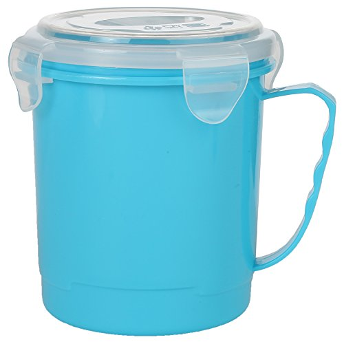 Home-X - Microwave Soup Mug with Secure Snap Close Vented Lid, 22 Ounce Mug Allows You to Heat and Eat Soups, Noodles, Hot Cereal and More in a Single Container, Blue