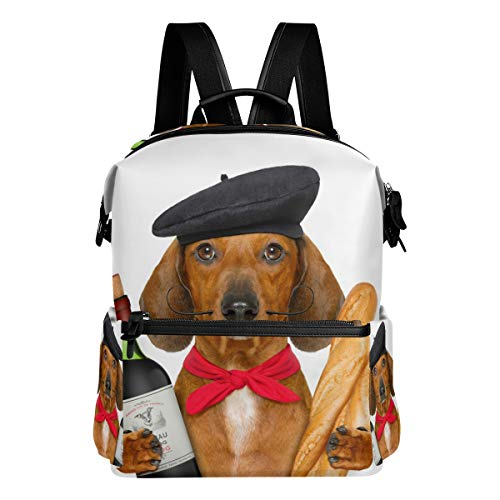 Dachshund Sausage Dog Red Wine Baguette French Flag School Backpack Large Capacity Waterproof Polyester Rucksack Satchel Casual Travel Daypack for Adult Teen Women Men Children