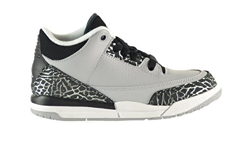 Air Jordan 3 Retro BP Little Kids Shoes Wolf Grey/Metallic Silver-Black-White 429487-004 (13 M US)