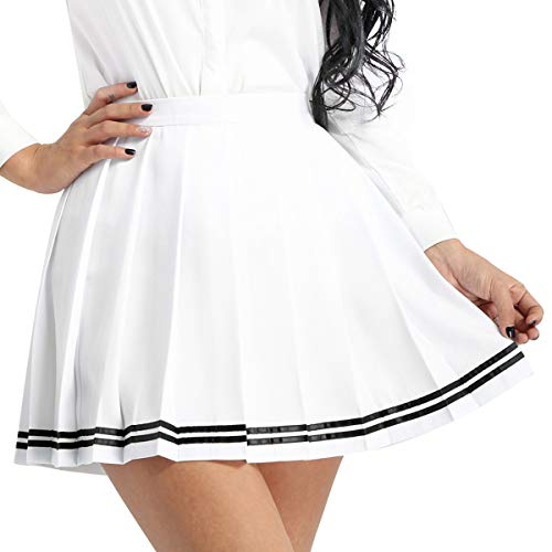 (inlzdz Women's Girls School Uniforms Japanese High Waist Pleated Mini Skirt Active Sport Skorts White Small)