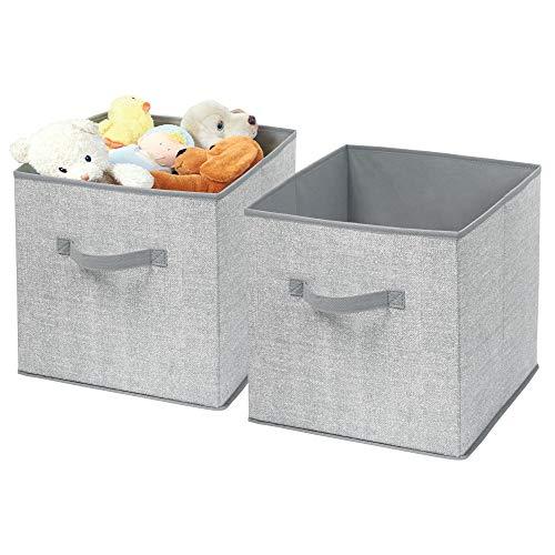 mDesign Soft Fabric Closet Storage Organizer Bin Box - Front Handle, for Cube Furniture Shelving Units Bedroom, Nursery, Toy Room - Textured Print - Medium, 2 Pack - Gray
