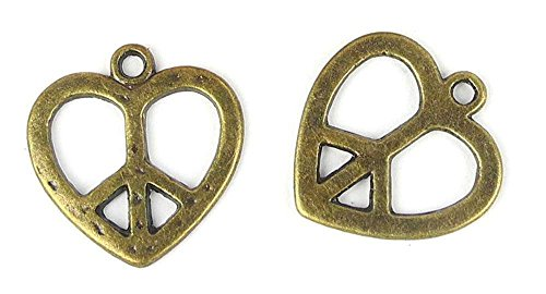 40x Anti-Brass Fashion Jewelry Making Charms A14196 Love Heart Peace Symbol Wholesale Supplies Pendant Retro DIY Craft Alloys Lots Repair Jewellery Findings