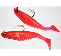 150mm 45g Red Gill Mega Vibe Shads Pack Qty 2