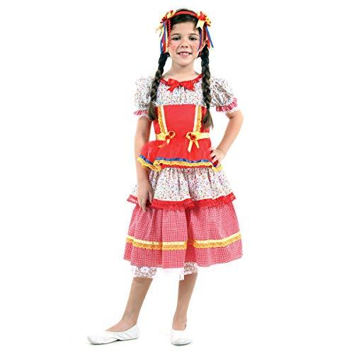 Fantasia Caipira Chiquinha Vermelha Infantil 39196-m Sulamericana Fantasias Vermelho M 6/8