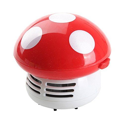Makhry Mushroom Shaped New Portable Corner Desk Vacuum Cleaner Mini Cute Vacuum Cleaner Dust Sweeper (red)