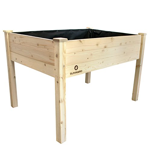 Sunward Patio Raised Garden Bed Elevated Planter Box (48 x 34 x 32) (Patio With Raised Beds)