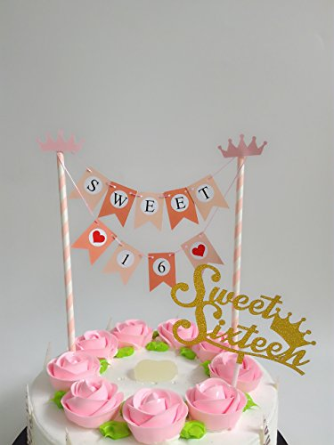 Sweet 16 Birthday Banner, Bunting Style Anniversary Decor...