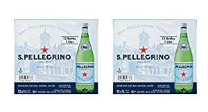 San Pellegrino Sparkling cuPQQV Natural Mineral Water, 33.8-ounce plastic bottles, 12 Count (Pack of 2)