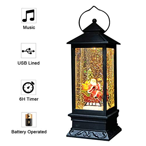 Eldnacele Singing Battery Operated & Plug-in Musical Lighted Christmas Snow Spinning Water Glittering Snow Globe Lantern Home Decoration and Gift-Santa Claus