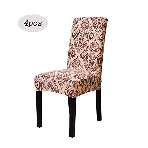 CoutureBridal Brown Medallion Chair Covers for Dining Room Set of 4,Soft Spandex Fit Stretch Short Printed Pattern Slipcover Protective Dining Room (Stretch Medallion)