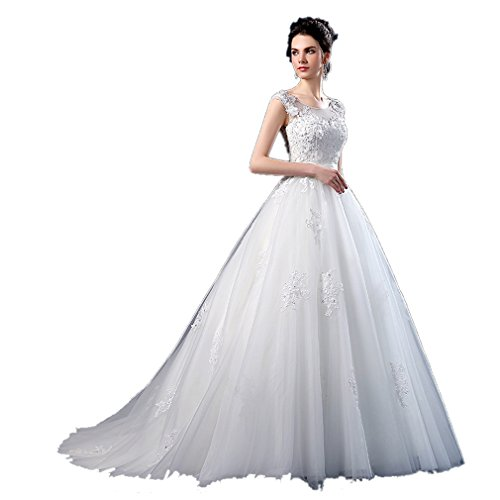 Dearta Women's A-Line Scoop Sweep Train Sleevless Tulle Wedding Gown US 12 Ivory