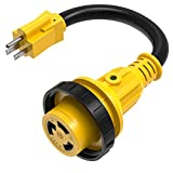 Kohree Dogbone Heavy Duty RV Power Cord Plug Adapter, 15Amp Male to 30Amp Female With Twist Lock, LED Indicator