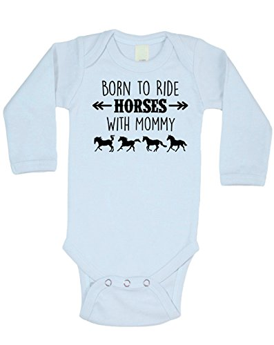 Equestrian Creations Born To Ride Horses With Mommy Long Sleeve Bodysuit by (Baby Blue, 3-6 Months) (Horse Blue Shirt New)