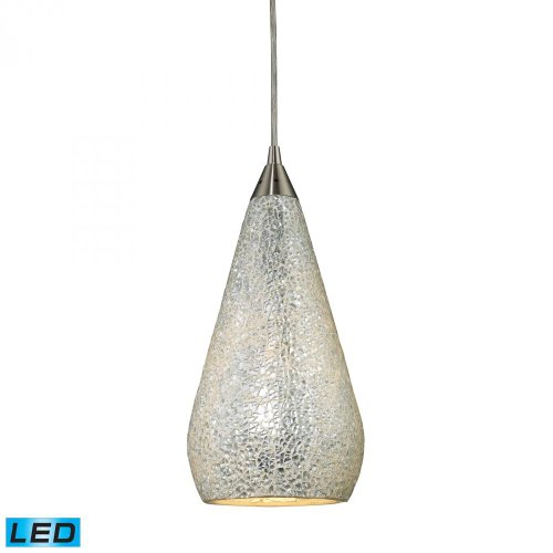 Elk 546-1SLV-CRC-LED Curvalo 1-LED Light Pendant with Silver Crackle Glass Shade, 6 by 13-Inch, Satin Nickel Finish Crackle 1 Light Pendant