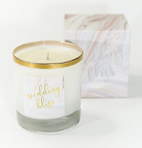 McPherson Events & Design Wedding Bliss Soy/Coconut Wax Scented Candle, Ideal Bride-to-Be Gift or Engagement Gift for Wedding Planning Relaxation and Stress Relief, Non-Toxic and Eco-Friendly, 8 oz - THE PERFECT BRIDE-TO-BE GIFT: As an engagement party gift, bride-to-be gift or bundled into a wedding gift, this chic aromatherapy candle gives a bride the gift of relaxation as she plans her wedding SOOTHING AND ROMANTIC AROMATHERAPY: This soy and coconut wax scented candle with relaxing fragrance notes of lavender, bergamot, grapefruit, jasmine and exotic florals makes a perfect engagement gift GIFT-BOXED FOR GIVING: This fragrant scented candle sits in a gold-rimmed, clear glass with a weighted base and a Wedding Bliss label lettered in gold. Its marble-print gift box is modern and elegant - living-room-decor, living-room, candles - 41Cwuy5iBkL -