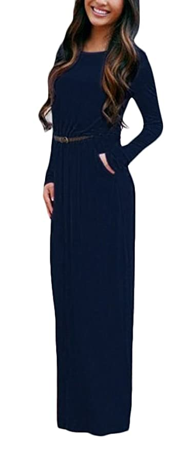 Lannister Fashion Vestito Donna Eleganti Vestiti Lunghi Autunno con Cintura  Rotondo Collo Casual Manica Lunga Abito da Giorno Puro Colore Abiti Maxi  Plain ... c8ab59fd9cd