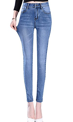 Jeans Ragazzi Donna In Primavera Tinta Pants Dabag Shaping Pantaloni Chiaro Tapered Autunno Stretch Pantalone Unita Blu PFwa5q