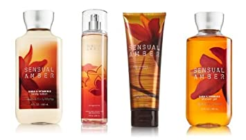 Bath Body Works Signature Collection Sensual Amber Gift Set Body Cream Shower Gel Body Lotion Fragrance Mist. Lot of 4