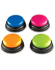 Decdeal Answer Buzzers, Recordable Voice Recording Sound Button for Kids Interactive Toy Answering Buttons Game Show Classroom Buzzers, Ages 3+ (4pcs)