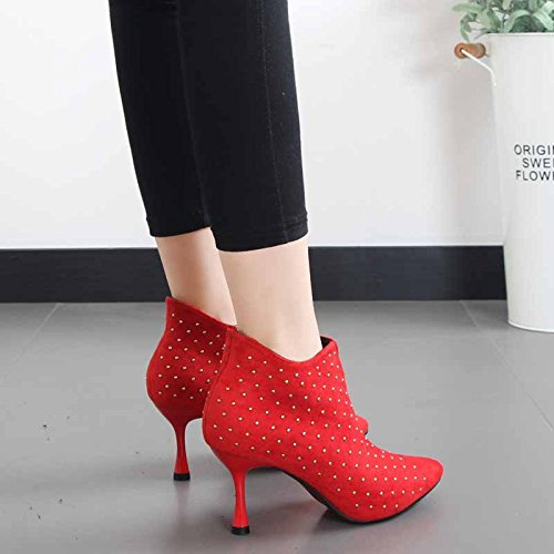 HBDLH Women's shoes/Breathable/Autumn Frosted Suede Fine Heel Women'S Short Boots 8Cm High Heel Boots Side Zippers Bare Boots And Women'S Boots. gules 43A5S4neA