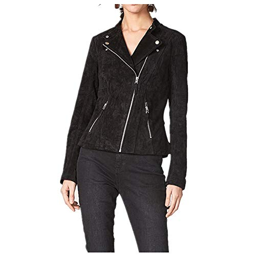 color Leather Mujer Manga Bolsillos Jacket Cremallera Size Larga Black Cierre Womens Biker Faux S Moto Liuxiaomiao Black EA707w