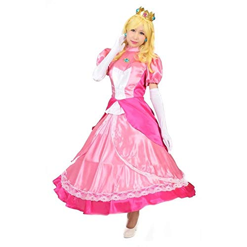 MILICA BOOKS Women's Super Mario Princess Peach Cosplay Costume Halloween (Large, Pink) ()