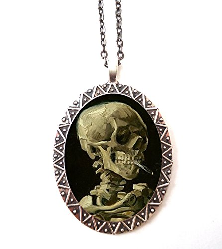 Smoker Skeleton Necklace Pendant Silver Tone Smoking Skull Vincent Van Gogh Fine Art Painting