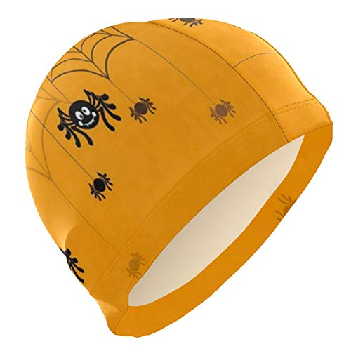 Loveful Personalized Halloween Seamless Pattern Spider Web Swim Cap Waterproof Bathing Swimming Cap Solid Swim Hat for Men Women Adults Youths, 3D Ergonomic Design -