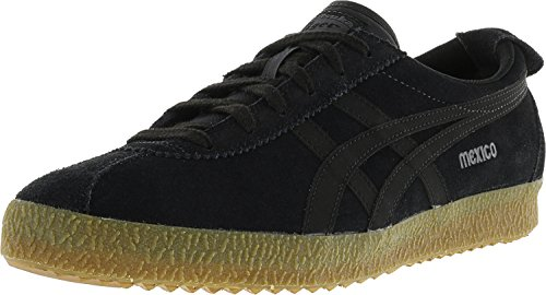 Tiger Leather Sneakers (Onitsuka Tiger Men's Mexico Delegation Black/Dark Grey Ankle-High Leather Fashion Sneaker - 14M)