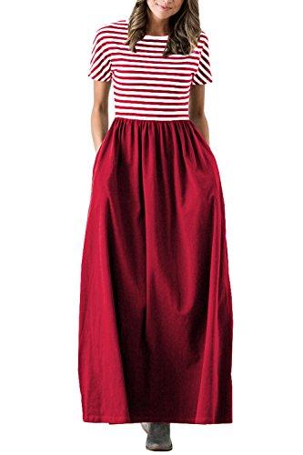 cd6b6b411e7 Chuanqi Womens Striped Maxi Dress Short Sleeve Casual Long Dresses with  Side Pockets