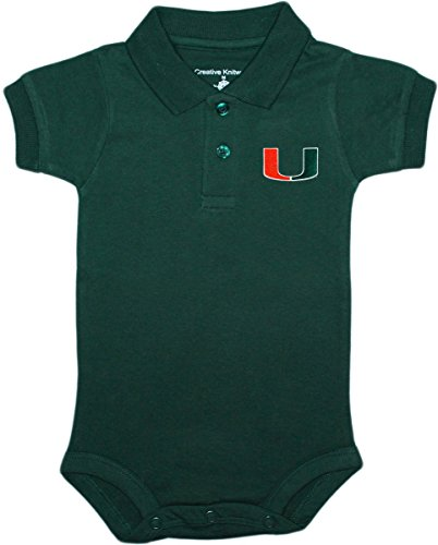 - Creative Knitwear University of Miami Hurricanes Tide Newborn Polo Bodysuit, 6-9 Months, Hunter