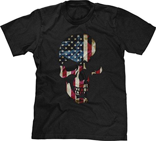 (Blittzen Mens T-shirt Skull with American Flag Imprint, XL, Black)