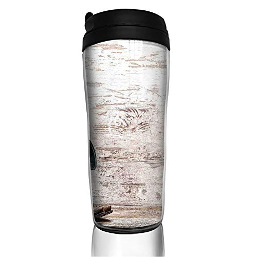 Stainless Steel Insulated Coffee Travel Mug,Hat and Cowgirl Boots in a Retro Grunge Background,Spill Proof Flip Lid Insulated Coffee cup Keeps Hot or Cold 11.8oz(350 ml) Customizable printing