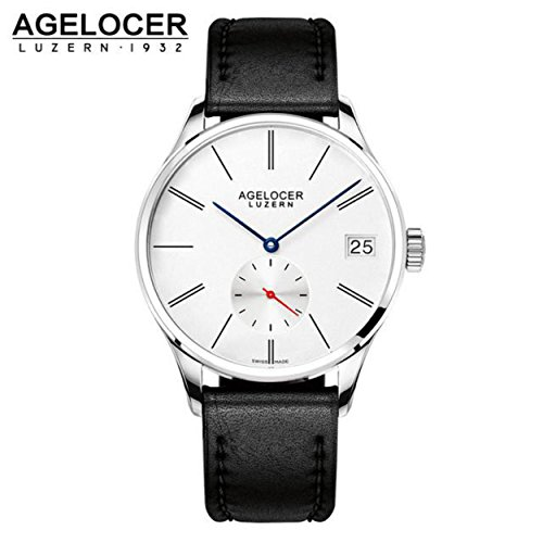 Agelocer brown watch a classic timepiece sport dual dial mens casual wristwatches wristwatch free shipping relojes para hombre ()
