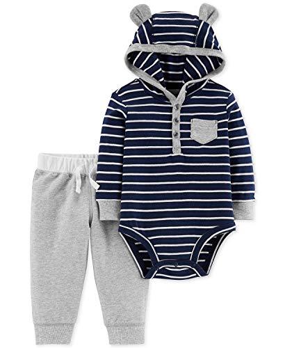 Carter's Baby Boys Graphic Slogan 2-Piece Bodysuit & Pant Set (Navy/Stripe, 3 Months)