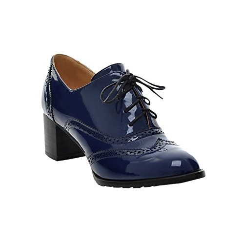 Mee Shoes Damen modern speziell Lackleder Geschlossen dicker Absatz Schnürhalbschuhe Freizeitschuhe Blau