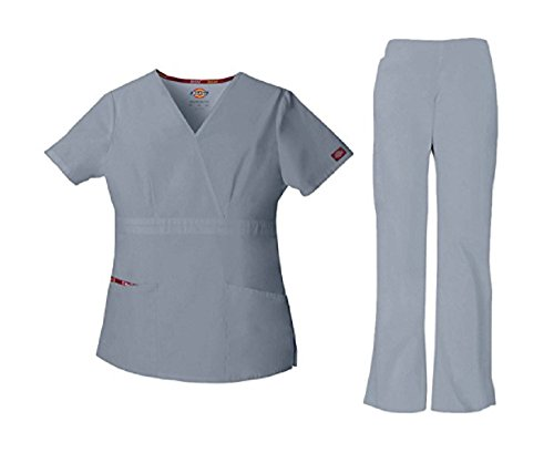 Dickies EDS Signature by Women's Mock Wrap Top & Drawstring Pant Scrub Set Small Petite Grey (Wrap Signature Top Mock)