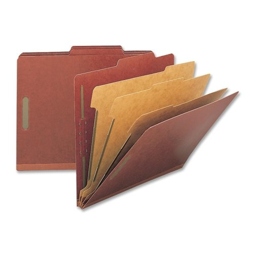 Wholesale CASE of 5 - Nature Saver Exp. Lgl Size Classification Folders-Classification Folders, Legal, 3 Partitions, 10/BX, Red
